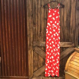 Old Navy Red Print Maxi Dress Size Small